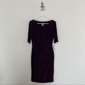 Anne Klein Short Sleeve Dress Size 12 Eggplant